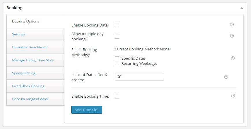 Turn your WooCommerce store into a booking platform - Default booking settings before setup