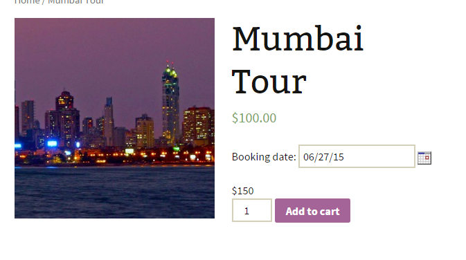 Pricing for WooCommerce Bookings - Mumbai Tour - Product Page