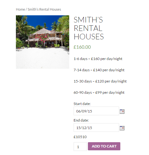 Rentals with WooCommerce - Screenshot of the frontend