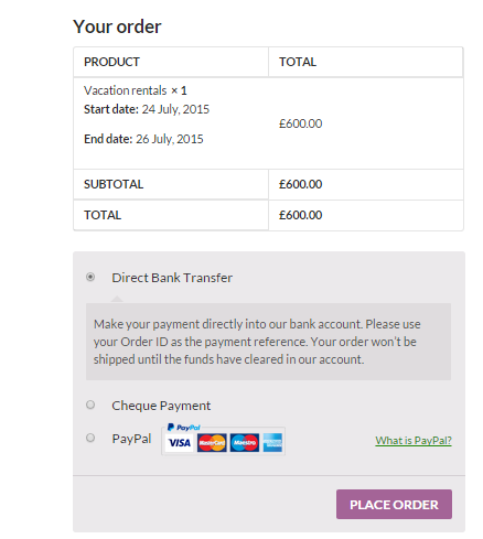 Screenshot of the Checkout Page