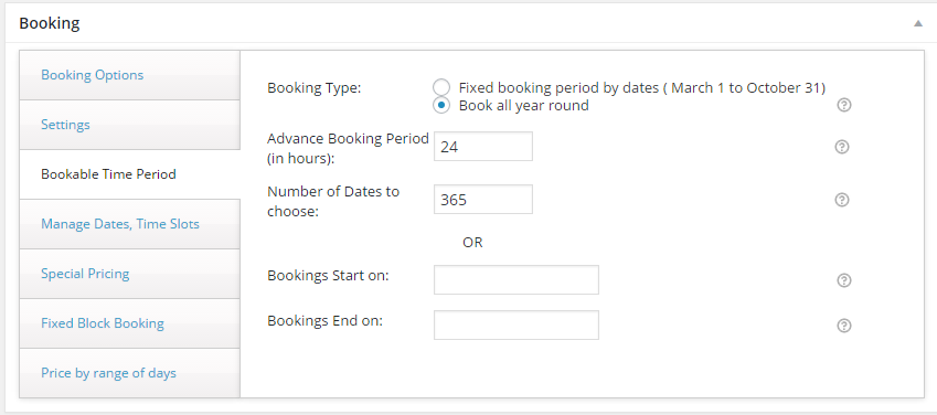 Screenshot of the booking settings