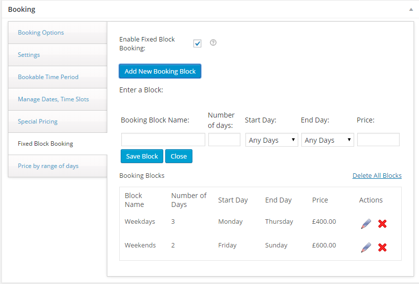 Screenshot for booking settings