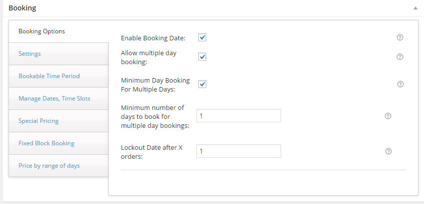 How to sell hotel bookings with WooCommerce - Screenshot of the booking setting