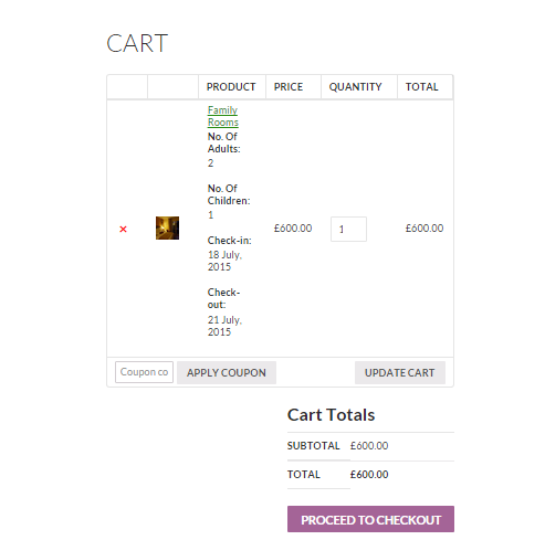How to sell hotel bookings with WooCommerce - Screenshot of the cart