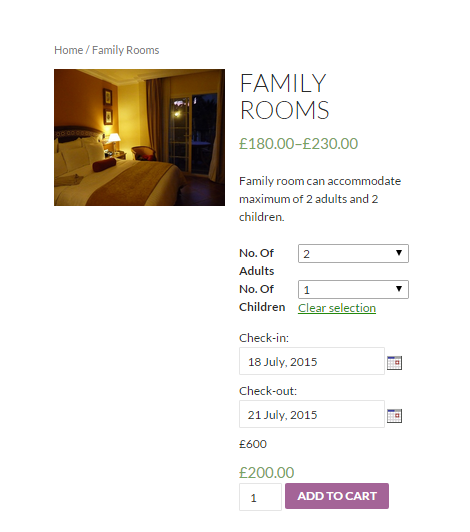 How to sell hotel bookings with WooCommerce - Screenshot of the frontend