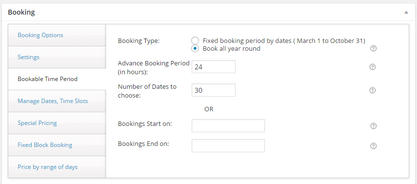 Variations with WooCommerce Booking - Advance booking period