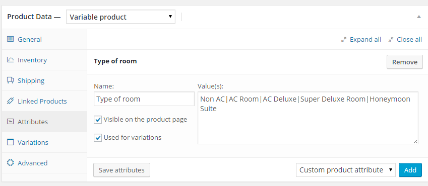 Variations with WooCommerce Booking - Product attributes setting