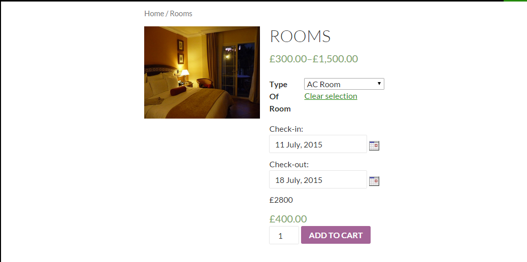 Variations with WooCommerce Booking - Frontend of hotel bookings