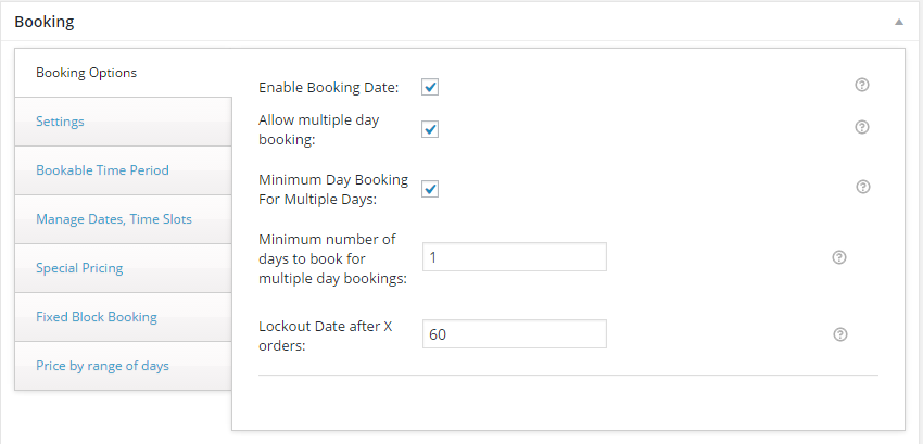 Variations with WooCommerce Booking - Booking settings