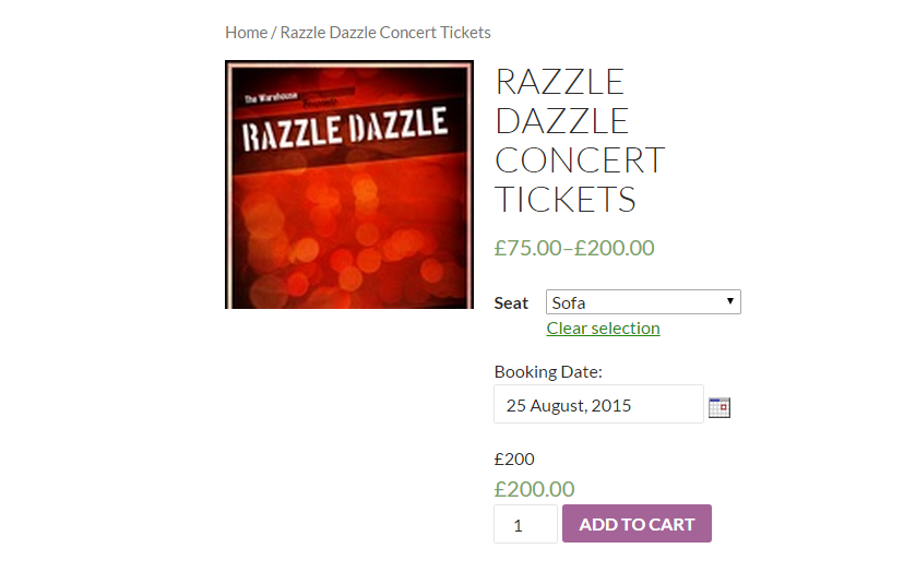 Sell Concert Tickets, Tours, Events with WooCommerce - Frontend of the Razzle Dazzle Concert Ticket