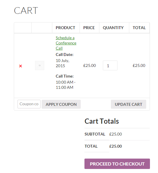 Turn your WooCommerce store into a booking platform - Cart page
