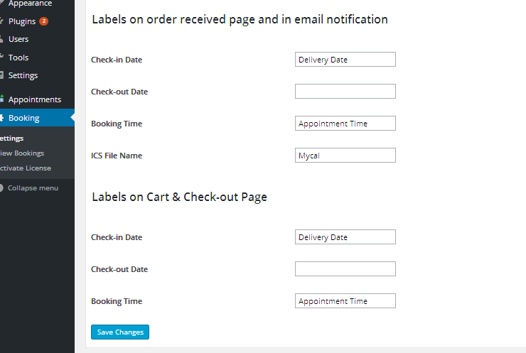 WooCommerce Product Delivery Date - Booking Label Settings
