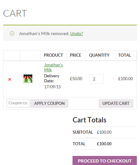 WooCommerce Product Delivery Date - Cart Page