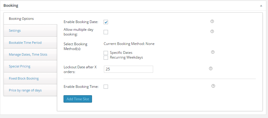 WooCommerce Product Delivery Date - General Booking Settings