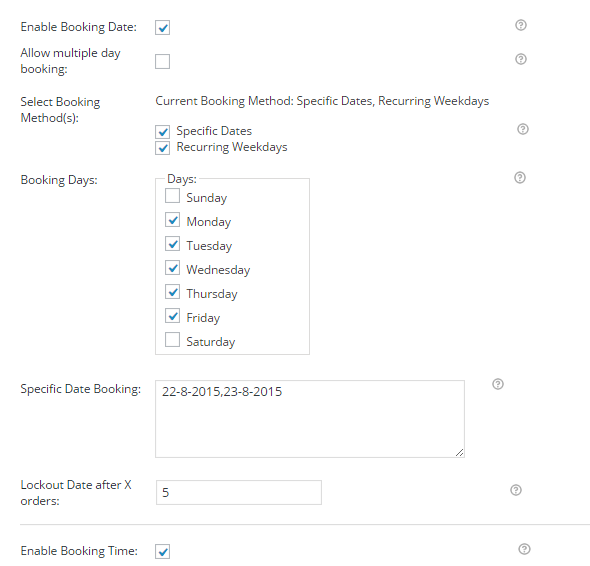 Settings for specific dates and recurring weekdays