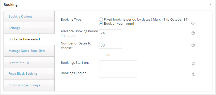 Settings for Bookable Time Period