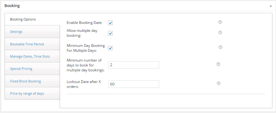 Book for minimum number of days with WooCommerce - General Booking Settings