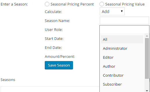 Change booking rates for different seasons with WooCommerce - User Roles