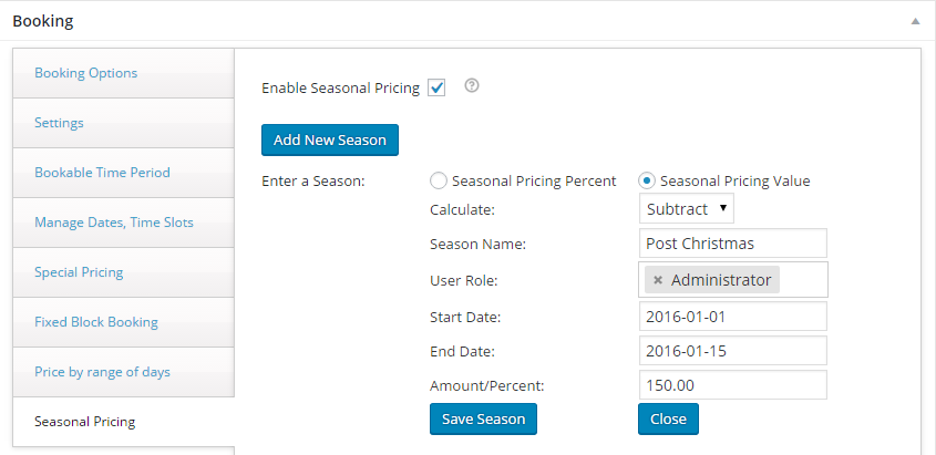 Change booking rates for different seasons with WooCommerce - Creating a new season-Pricing Value