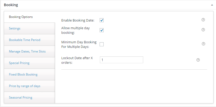 Change booking rates for different seasons with WooCommerce - Booking Settings