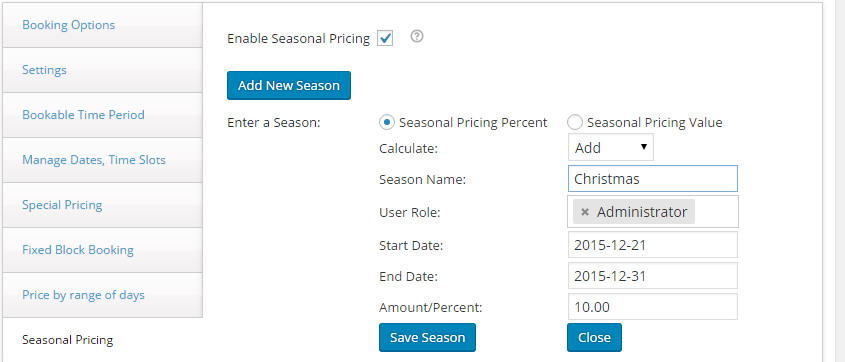 Change booking rates for different seasons with WooCommerce - Pricing Percent