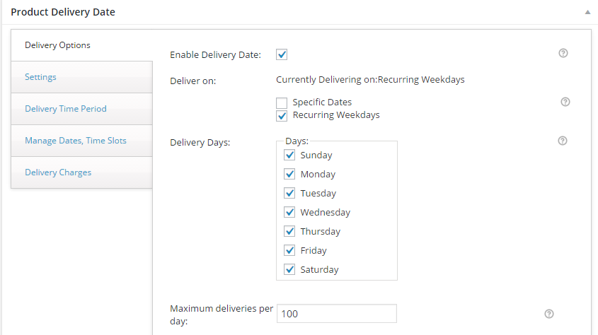 Delivery Date on product page for WooCommerce - Booking settings
