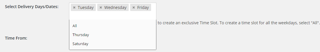 Select Delivery Days Date