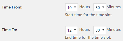 Select Time Slot time Form Start To End