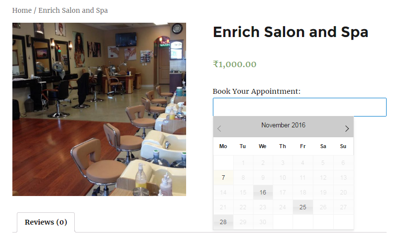 Services on certain dates - Frontend of Enrich Salon and Spa