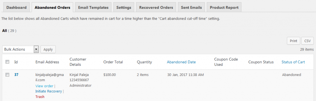 view-order - Differences between Pro and Lite versions of Abandoned Cart for WooCommerce plugin