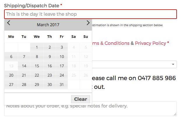 Delivery Date field
