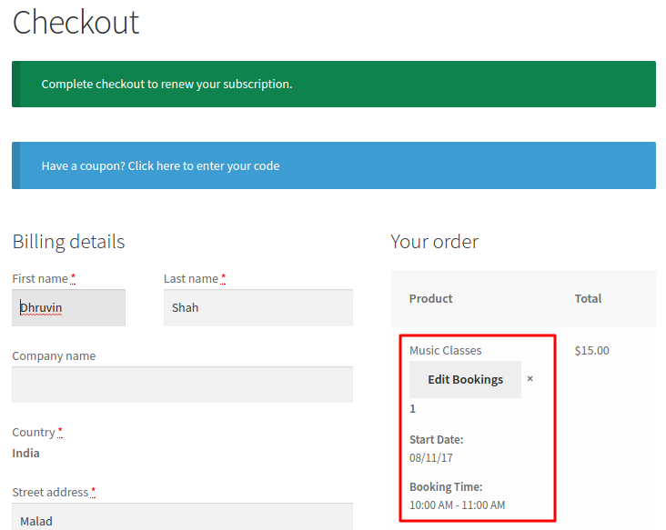 Edit Bookings on Checkout page