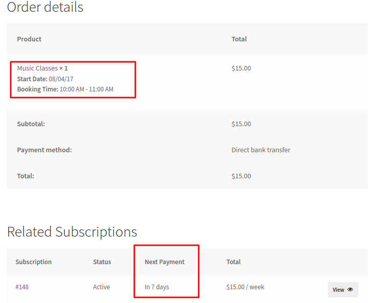 Subscription Order with Booking Details