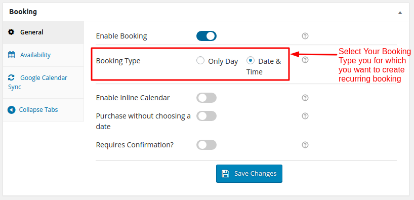 Booking Types for recurring bookings