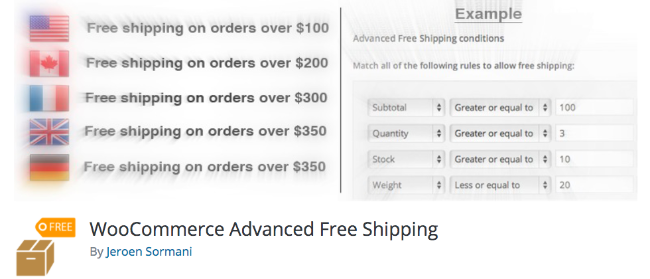 Best Free & Premium WooCommerce plugins - WooCommerce Advanced Free Shipping