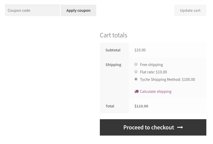 Tyche Shipping Method on Cart Page