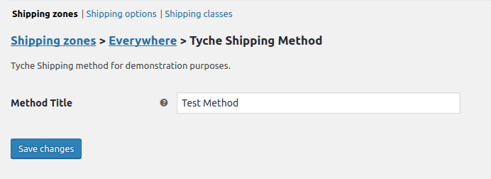 Tyche Shipping Settings
