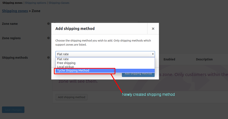 Newly Created Shipping Method