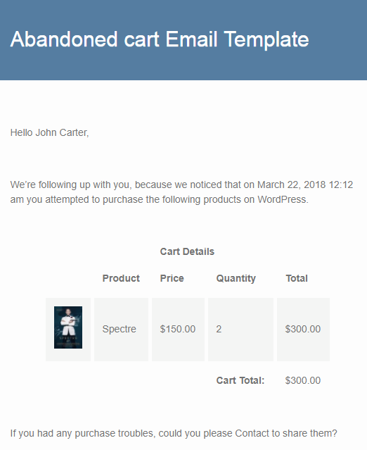 Understanding the default Email Template of Abandoned Cart Lite for WooCommerce plugin - Tyche Softwares