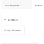 Deposits option on Checkout Page