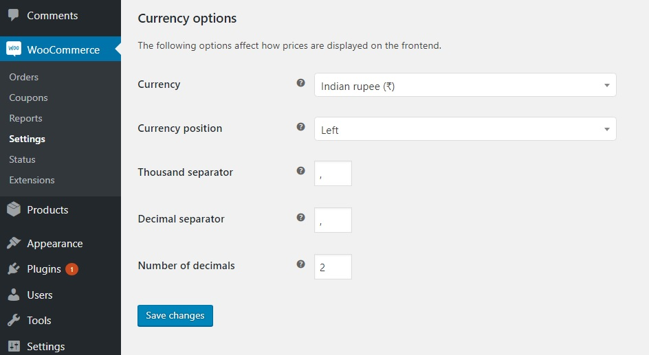 How to format WooCommerce prices- Change decimal separator value in WooCommerce Settings