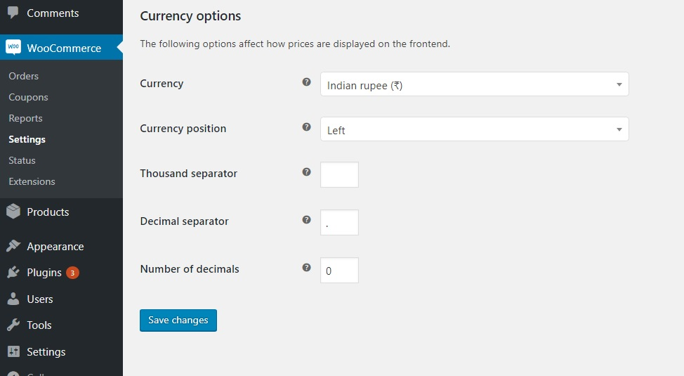 How to format WooCommerce prices - WooCommerce Settings - Number of Decimals 0