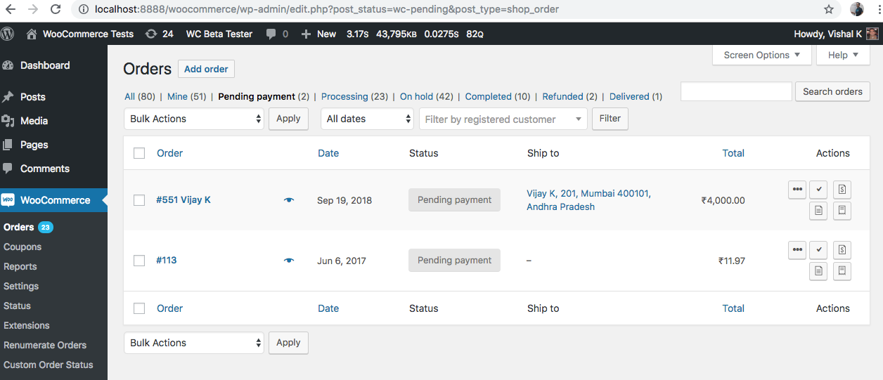 WooCommerce Orders with Pending status