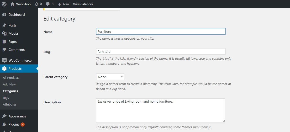 How to add text to the category description in WooCommerce - Editing Category Description Through Dashboard