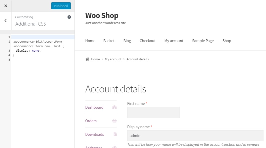 How to remove the Last name field from the My Account page in WooCommerce - Adding custom CSS