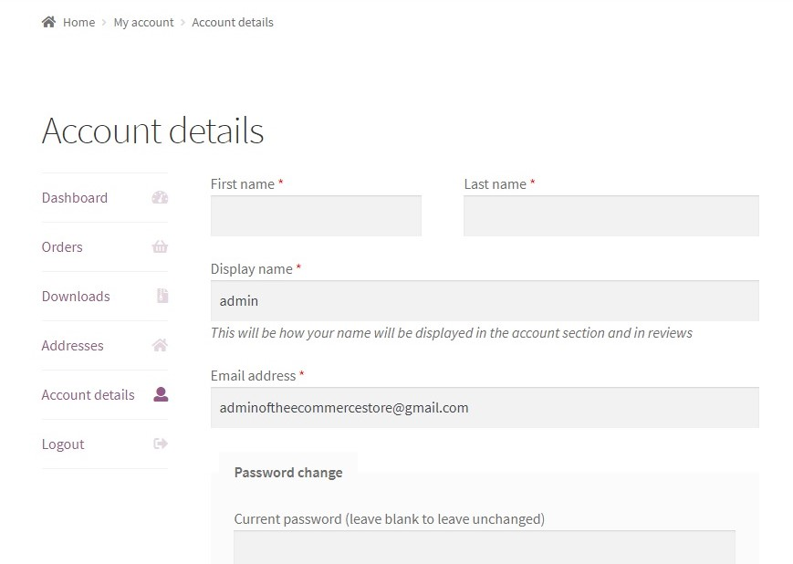 How to remove the Last name field from the My Account page in WooCommerce - My Account page