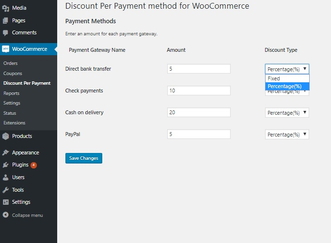 Screenshot of plugin Discount Per Payment Method - add charges or discounts for different payment methods in WooCommerce
