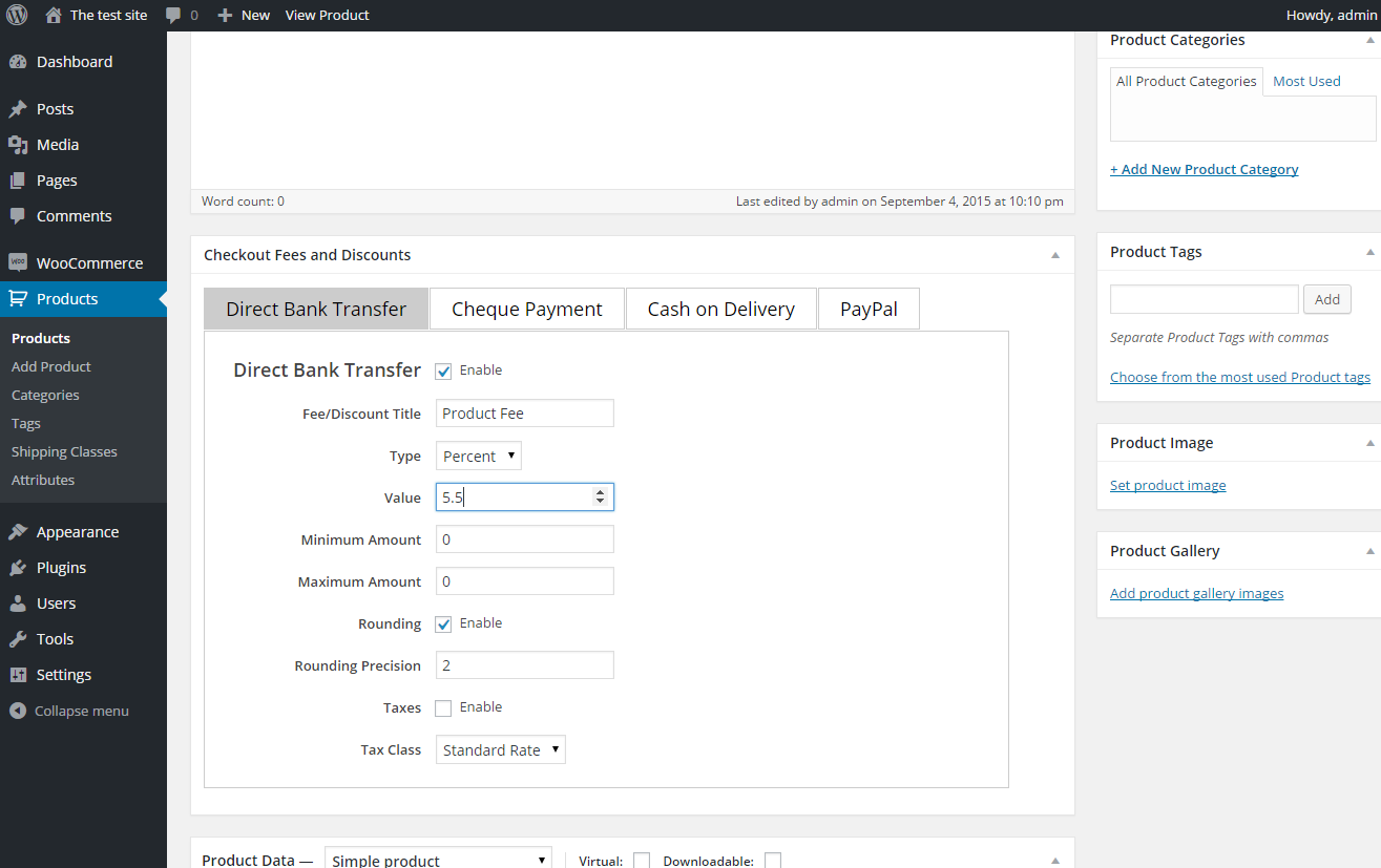 Screenshot2 of plugin Payment Gateway based fees and discounts - add charges or discounts for different payment methods in WooCommerce