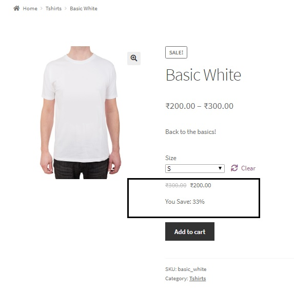 "display ""You Save x%"" below sale prices for simple and variable products in WooCommerce - Variable Product with You Save Percentage Displayed below the Variation Price"