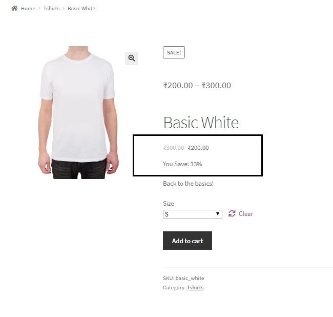 "display ""You Save x%"" below sale prices for simple and variable products in WooCommerce - Variable Product with Variation Price and You Save Percentage Displayed below the Product Title"